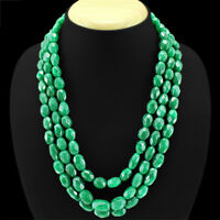 GENUINE ELEGANT 743.00 CTS NATURAL GREEN EMERALD OVAL FACETED BEADS NECKLACE