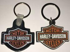 2 LOT HARLEY DAVIDSON BAR & SHIELD LOGO PVC/RUBBER KEY CHAINS KEY RINGS NEW