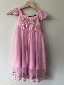 Origami Size 3 Girls Pink Princess Tie Dress Tulle Sequence Detail Cap Sleeve