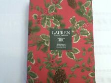 Ralph Lauren Holiday Christmas Pine Cone Tablecloth Birchmont Red Berry 60 X 84