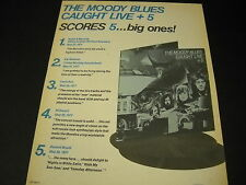 MOODY BLUES Score Five Big Ones with LIVE + 5 Promo Poster Ad from 1977 MINT