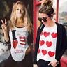 Women Valentine's Day Long Sleeve Sweatshirt Pullover Tops Blouse Shirt Tee
