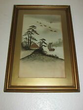 Old Japanese Painting Gold Accents