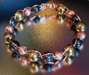 Golden Hematite, Shungite, and Copper Bead Bracelet EMFs Protection