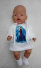 """BJB Doll clothes White frozen inspired pinafore outfit 3pc fit 17"""" Baby Born"""