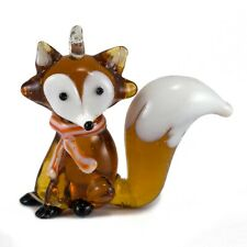 "Hanging Miniature Hand Blown Amber Glass Fox Ornament Figurine 1.5"" High New!"