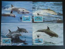 marine mammal dolphin set of 4 WWF maximum card Niue 94745