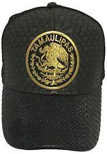 TAMAULIPAS MEXICO LOGO FEDERAL HAT GORRA DE PALMA VISERA DE PIEL BLACK MESH