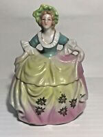 "Vintage Gorgeous Multi-Color Ceramic Dresser Doll Made in Japan 6""  SEE PICS!"