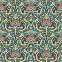 Crown M1196 Flora Nouveau Peacock Green Wallpaper Retro Vintage