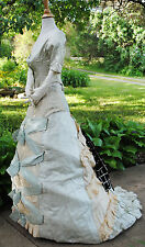 1870's SATIN BROCADED BUSTLE 2-PC GOWN RIBBON BOWS FRONT MUSEUM DE-ACCESSIONED