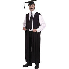 School Teachers Gown Black Headmaster Graduate Uniform Fancy Dress Costume 21486