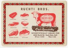 Playing Cards 1 Swap Card Old Antique Wide RUCHTI BEEF Cow BUTCHER Meat Cuts Ad