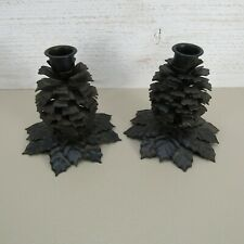 Crate and Barrel Pinecone Candle Stick Holders 4Hx 5W x 5L Rustic Decor Set of 2