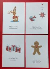 10 Christmas Thank You Cards - Personalised - Folded -Blank-Childrens Girls Boys