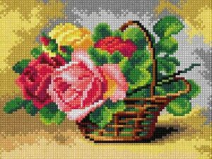 """""""Basket of Roses"""" Printed Canvas or Threads Kit  for Needlepoint 2890"""