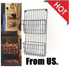 Fruit Basket Eggs Organizer Storage Hanging Kitchen Wall Rack File Holder Hanger