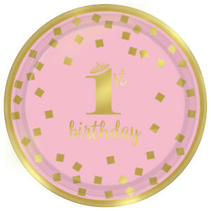 8 x 1st Birthday Pink & Gold Paper Party Plates Girls Age 1 Tableware 18cm