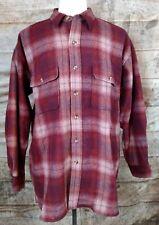 Men's NOS Red Shadow Plaid Wool Shirt by Robert Stock Sz L NWT
