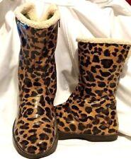 Kalso Earth Elite Vegan Boots. Brown Leopard Faux Fur Lining Sz 6.5