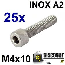 25x Vis CHC (BTR) - M4x10 - INOX A2 - DIN 912 - 6 pans creux