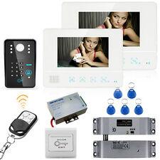 """7"""" Video Door Phone Intercom System IR Camera+Electric Drop Bolt Lock 2 Monitors"""