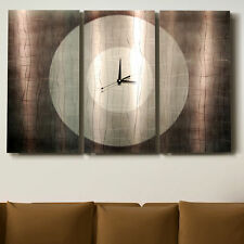 Metal Abstract Modern Large Steel Silver Wall Art Clock Painting Sculpture Decor