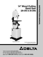 "Delta 28-293 28-299 14"" Wood Cutting Band Saw Instruction Manual"