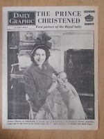 VINTAGE NEWSPAPER DAILY GRAPHIC DECEMBER 16th 1948 PRINCE CHARLES IS CHRISTENED