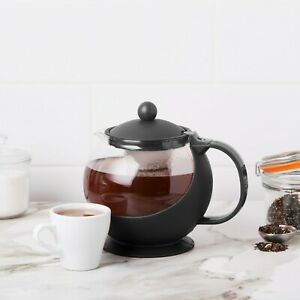 NEW CHOICE TEAPOT 25 oz GLASS CARAFE TEA POT, REMOVABLE STAINLESS STEEL INFUSER