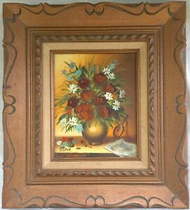 Vintage Retro Framed Original Floral Oil Painting - Signed Weber - circa 1976