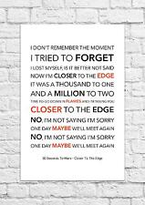 30 Seconds To Mars - Closer To The Edge - Song Lyric Art Poster - A4 Size