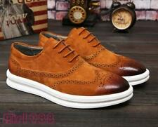 Mens Sneakers Casual Low top oxford brogue wingtip carved suede dress shoes New