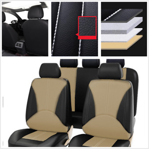 9Pcs Black/Beige PU Leather Seat Cover Universal Fit For Car Front + Rear Seat