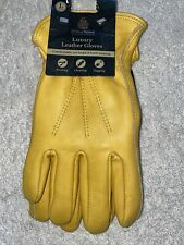 Luxury Leather Men's Gloves  Kent & Stowe Yellow Large