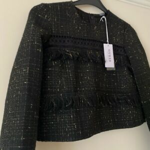 BNWT Guess black and gold fringed long sleeve jacket top size small