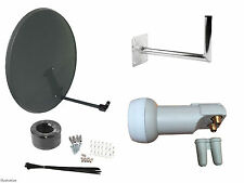 80CM Mesh Satellite Dish With Wall Mount & Twin LNB/Installation Kit