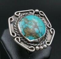 Southwest BoHo Sterling Silver Flat Face Beaded Turquoise Ring Size 7 RS1125