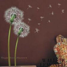 White Green Dandelion Flower Reusable Removable Art Decor Wall Stickers