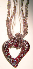 BROWN AND WHITE MURANO GLASS HEART PENDANT ON A FIVE STRAND SEED BEAD CHAIN