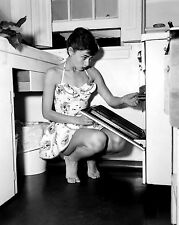 AUDREY HEPBURN PHOTO cute using oven kitchen photograph