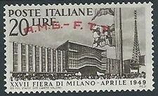 1949 TRIESTE A FIERA DI MILANO VARIETà SOPRASTAMPA SPOSTATA MH * - ED276