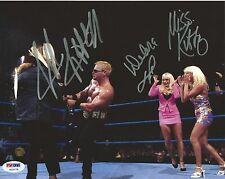 Jeff Jarrett Miss Kitty & Debra McMichael Signed WWE 8x10 Photo PSA/DNA COA Auto
