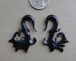Pair Hand Carved Tribal Floral Horn Spirals Hook Flower Ear Taper Plugs Gauges