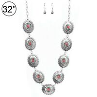 Red SOUTHWEST Gypsy WESTERN COWGIRL TURQUOISE concho silver NECKLACE SET