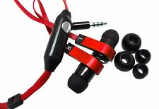 Red Flat Noodle 3.5mm Earphone Headphone Earbud Headset For iPhone Samsung LG