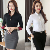 Women Ladies Long Sleeve Slim OL Career Business Shirt Formal Blouse Office Tops