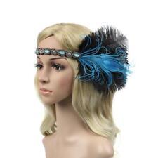 Femme Fascinator Charleston Bandeau à Plume Strass Bleu Chic