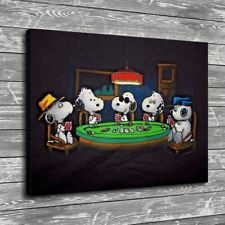 Peanuts Snoopy Dogs Playing Poker Home Decor HD Canvas Print Wall Art Painting