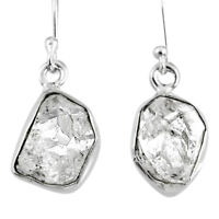 10.27cts Natural White Herkimer Diamond 925 Silver Dangle Earrings R61519